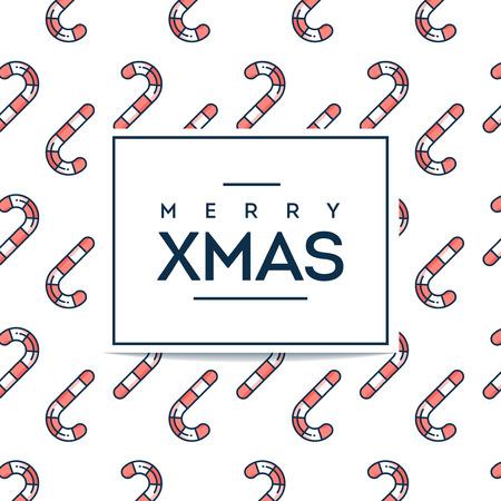 Mooie minimalistische Merry Xmas kaart met candy cane naadloze patroon, platte ontwerp dunne lijn stijl, vector illustratie