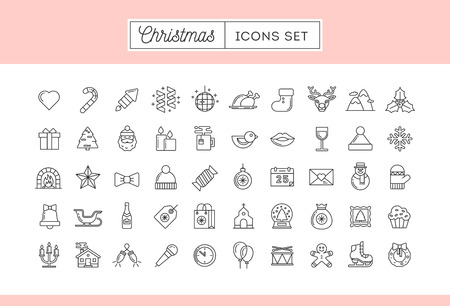 shopping champagne: Set of 50 thin line Christmas icons, vector illustration
