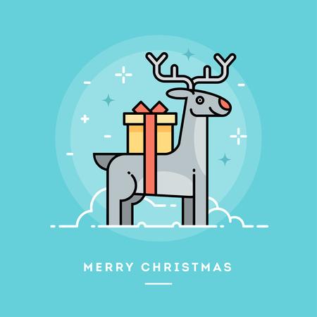 line vector: Cute reindeer carrying a gift, flat design line Christmas banner, vector illustration