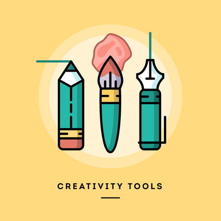 pencil: Set of pencil, paintbrush and fountain pen, flat design line banner, vector illustration