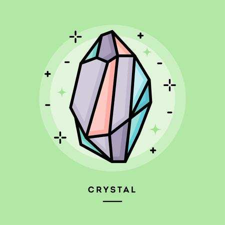 energy healing: Beautiful colorful crystal, line flat design banner, vector illustration