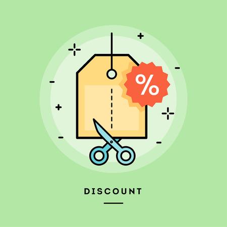 sale off: Concept of discount, line flat design banner, vector illustration