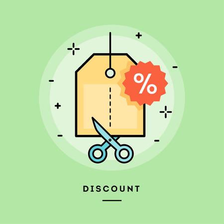 Concept of discount, line flat design banner, vector illustration