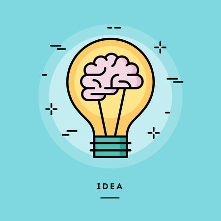 Brain in the light bulb as a metaphor for idea, line flat design banner, vector illustration