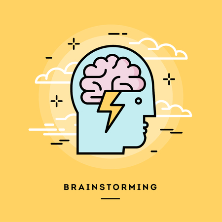 Concept of brainstorming, line flat design banner, vector illustration Çizim