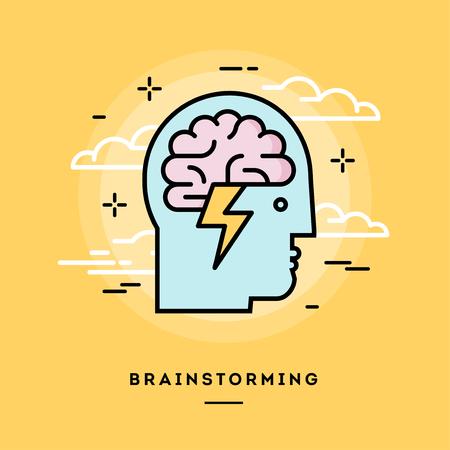 Concept van brainstormen, lijn platte ontwerp banner, vector illustratie