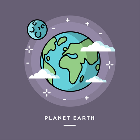 Planet Earth seen from space, line flat design banner, vector illustration