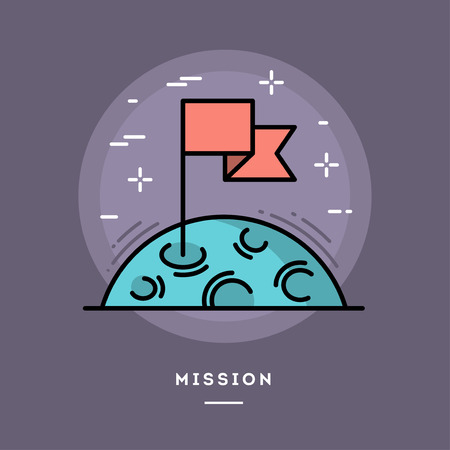 moon surface: Flag on the moon as a metaphor for business mission, line flat design banner, vector illustration