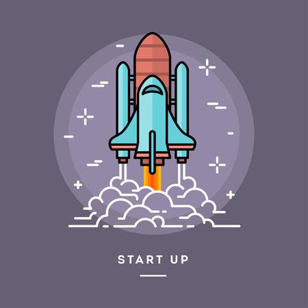brandweer cartoon: Raket lanceren als een metafoor voor start-up bedrijf, lijn platte ontwerp banner, vector illustratie