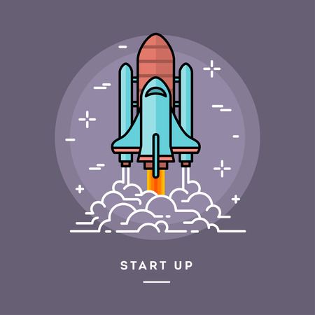 cartoon business: Rocket launching as a metaphor for start up business, line flat design banner, vector illustration