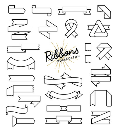paper old: Set of variously shaped ribbon banners, thin line style design, vector illustration