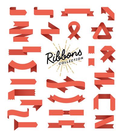 Set of variously shaped ribbon banners, flat design, vector illustration