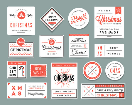 wish of happy holidays: Set of beautiful Christmas themed labels and greeting cards, vector illustration Illustration