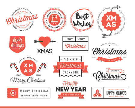 wish of happy holidays: Set of beautiful Christmas themed labels, badges, vector illustration