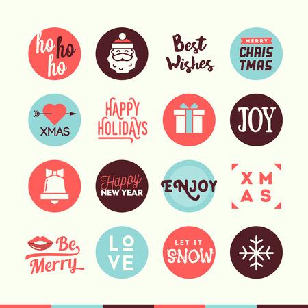 neige noel: Set mignon de Noël et Nouvel An bannières thématiques, illustration vectorielle