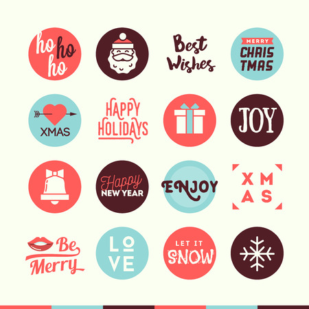phrases: Set of cute Christmas and New Year themed banners, vector illustration