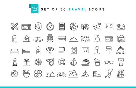 SEYEHAT: 50 seyahat simgeleri ayarlayın, ince çizgi stili, vektör çizim Çizim