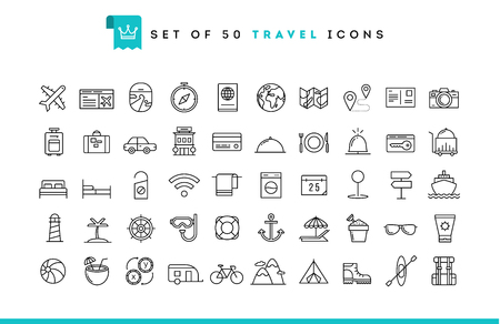 Set of 50 travel icons, thin line style, vector illustration