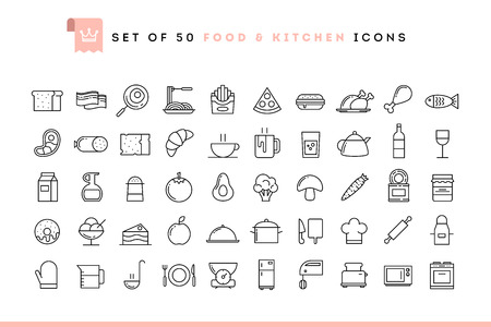 Set of 50 food and kitchen icons, thin line style, vector illustration 版權商用圖片 - 49964946