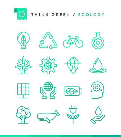 plants species: Pensa Verde! Set di icone di ecologia, stile sottile di linea, illustrazione vettoriale