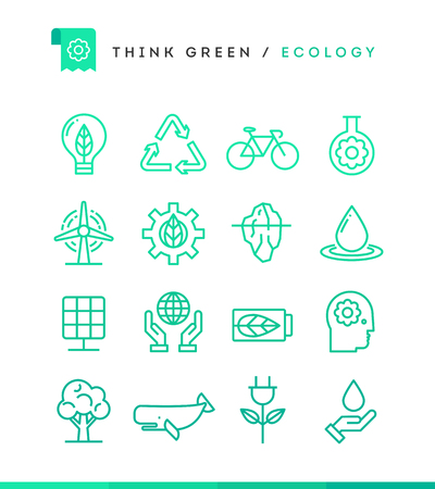 endangered species: Think green! Set of ecology icons, thin line style, vector illustration Illustration