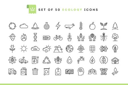 Set van 50 ecologie iconen, dunne lijn stijl, vector illustratie