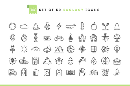 Set of 50 ecology icons, thin line style, vector illustration