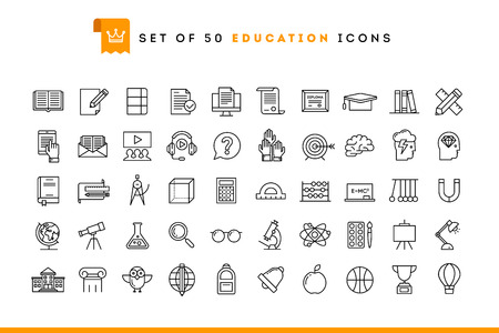 person writing: Set of 50 education icons, thin line style, vector illustration Illustration