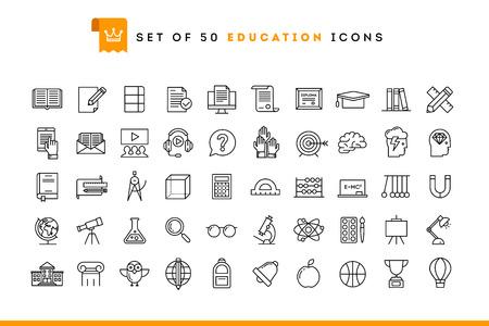 Set van 50 onderwijs pictogrammen, dunne lijn stijl, vector illustratie