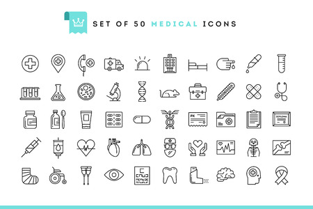termómetro: Conjunto de 50 iconos de médicos, estilo de línea delgada, ilustración vectorial