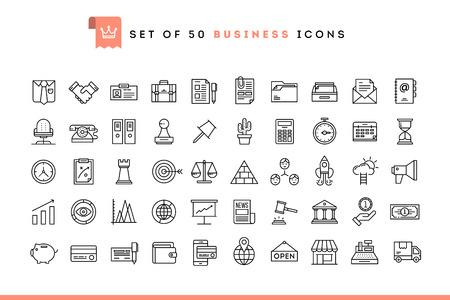 Set van 50 zakelijke iconen, dunne lijnstijl, vectorillustratie