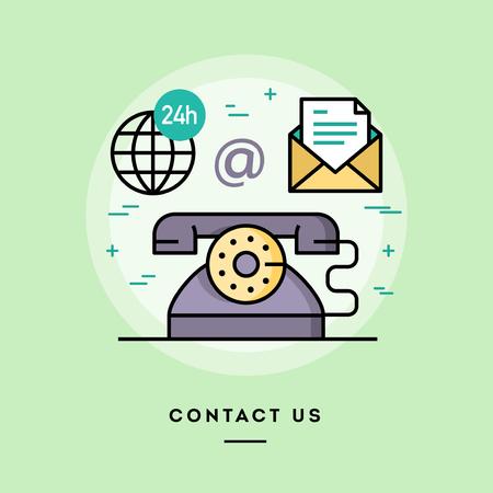 Neem contact met ons op, lijn platte ontwerp banner, vector illustratie Stock Illustratie
