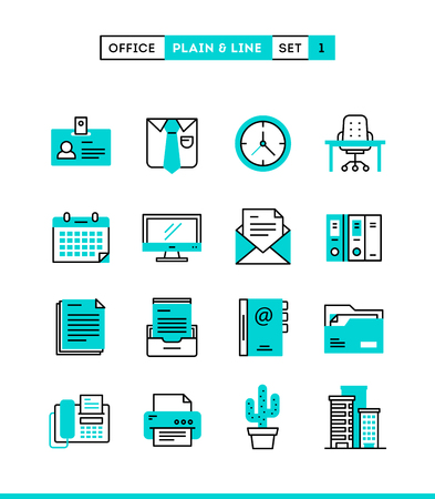 Office things, plain and line icons set, flat design, vector illustration Stock Illustratie