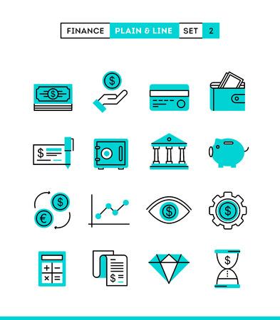 Geld, financiën, besparingen ... Plain en lijn iconen set, platte ontwerp vector illustratie