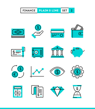 Money, finance, savings...Plain and line icons set, flat design vector illustration Çizim
