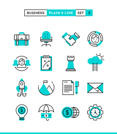 Business, entrepreneurship, teamwork, goals and more. Plain and line icons set, flat design, vector illustration