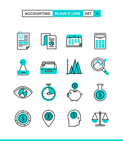Accounting, business statistics, time and money management and more. Plain and line icons set, flat design, vector illustration