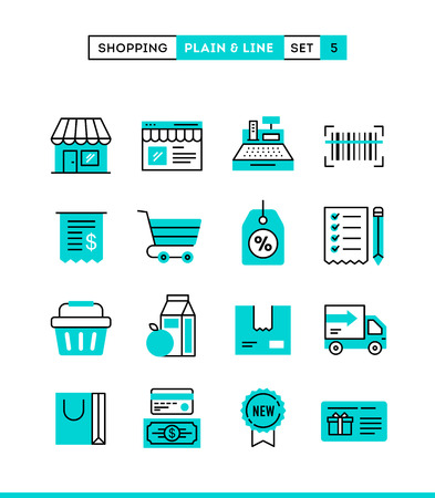 Shopping, retail, delivery, gift card, discount and more. Plain and line icons set, flat design, vector illustration Stock Illustratie