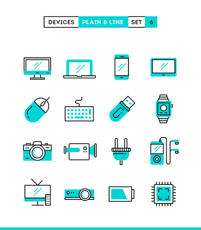computer mouse icon: Technology, devices, gadgets and more. Plain and line icons set, flat design, vector illustration