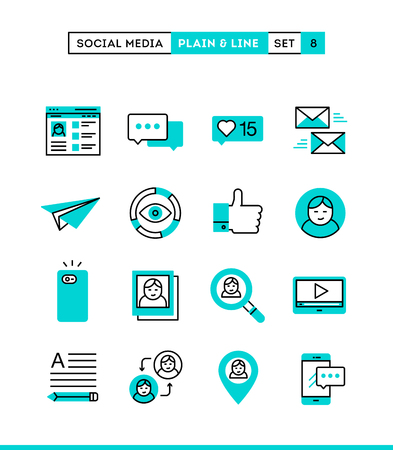 line up: Social media, communication, personal profile, online posting and more. Plain and line icons set, flat design, vector illustration Illustration