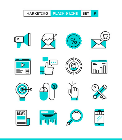 search engine marketing: Digital marketing, online business, target audience, pay per click and more. Plain and line icons set, flat design, vector illustration