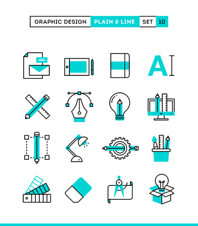 Graphic design, creative package, stationary, software and more. Plain and line icons set, flat design, vector illustration Illustration
