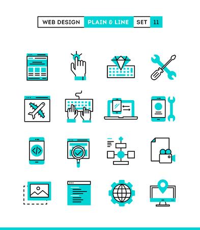 Web design, coding, responsive, app development and more. Plain and line icons set, flat design, vector illustration Vettoriali