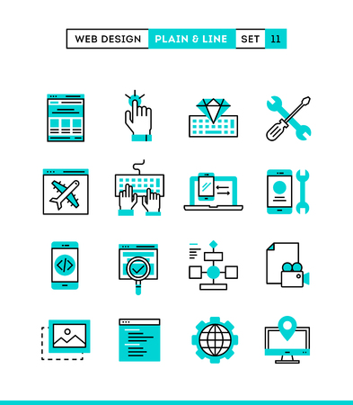 Web design, coding, responsive, app development and more. Plain and line icons set, flat design, vector illustration Ilustracja
