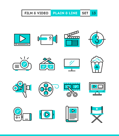 Film, video, shooting, editing and more. Plain and line icons set, flat design, vector illustration Vettoriali