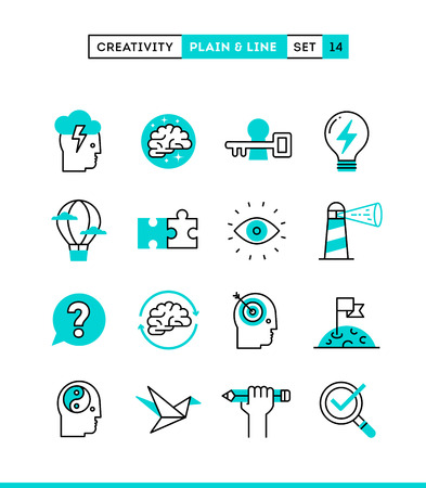 Creativity, imagination, problem solving, mind power and more. Plain and line icons set, flat design, vector illustration