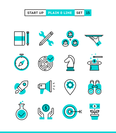 Start up business, strategy, marketing, finance and more. Plain and line icons set, flat design, vector illustration Ilustracja