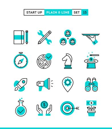 Startende onderneming, strategie, marketing, financiën en nog veel meer. Vlakte en lijn iconen set, platte ontwerp, vector illustratie