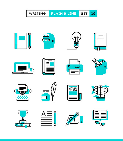 Writing, blogging, bestseller book, storytelling and more. Plain and line icons set, flat design, vector illustration