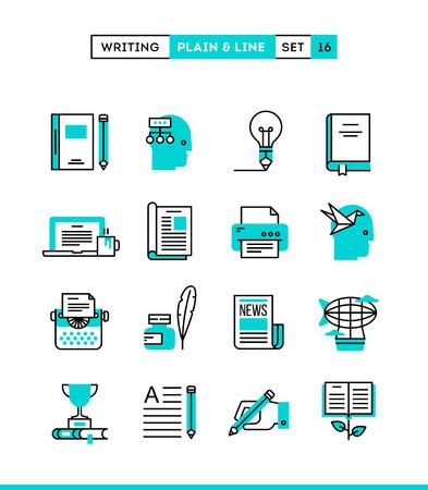 Writing, blogging, bestseller book, storytelling and more. Plain and line icons set, flat design, vector illustration